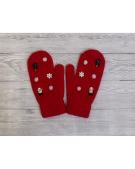 Rukavice červené s vianočným motívom
