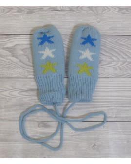 Detské rukavice svetlomodré s hviezdičkami