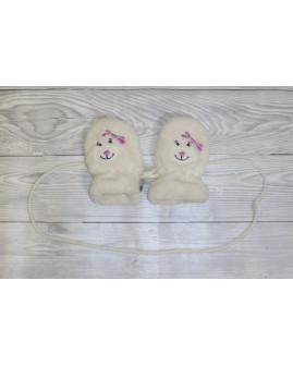 Detské rukavice Liegelind biele s mackom