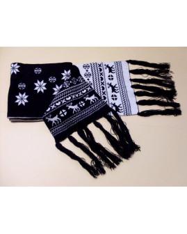 Šál čierno-biely s vianočným motívom