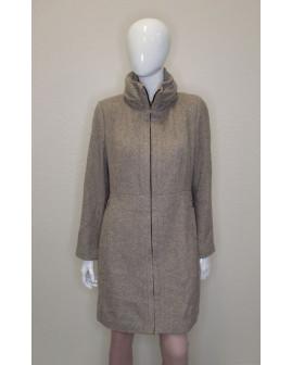 Kabát Zara hnedý s jemným prúžkom, veľ.XL