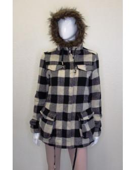 Kabát Billabong čierno-biely károvaný, veľ.36