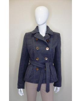 Kabát H&M sivý s opaskom, veľ.42