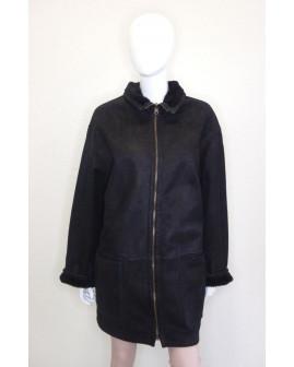 Kabát čierny, zvnútra kožušina, veľ.42