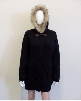 Kabát Tally Weijl čierny s kapucňou s kožušinou, veľ.42