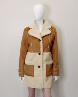 Kabát Glamorous hnedý semišový s kožušinou, veľ.M