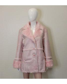 Kabát Dennis Basso ružový vzorovaný s kožušinou, vnútri kožušina, veľ.L