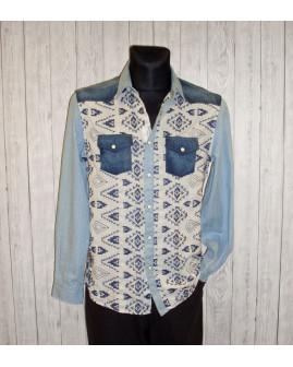 Košeľa Desigual rifľová modrá so vzorom, veľ.M