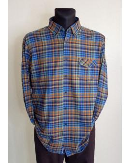 Košeľa flanelová Redmont modro-oranžová, veľ.43/44