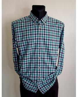 Košeľa flanelová zeleno-modrá károvaná, veľ.XL