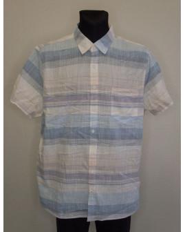 Košeľa Angelo Litrico modro-béžová pruhovaná, veľ.XXL