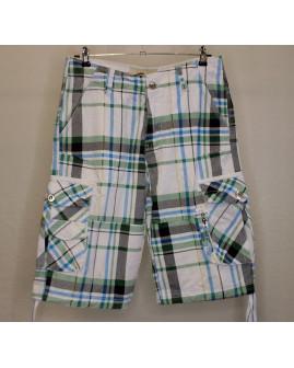 Šortky bielo-modro-zelené kárované, veľ.46