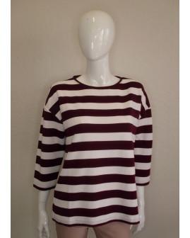 Mikina Jean Pascale fialovo-biela pruhovaná, veľ.M