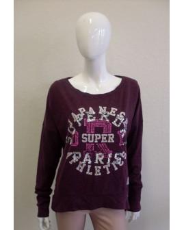 Mikina Super Dry fialová s nápismi, veľ.M