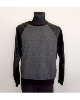 Mikina sivo-čierna s koženkovými rukávmi, veľ.L