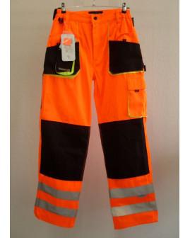 Pracovné nohavice oranžové, s reflexnými prvkami, veľ.48