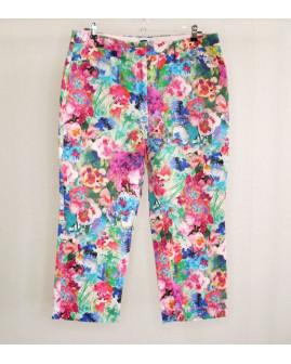 7/8 nohavice Lands End farebné kvetované, veľ.42