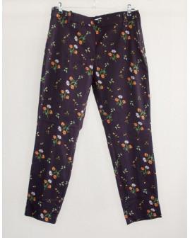 Nohavice H&M čierne s kvetmi, veľ.44