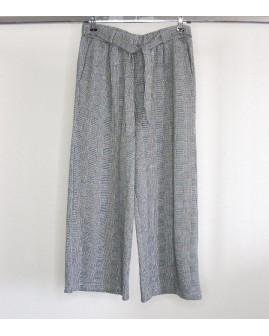 7/8 letné nohavice čierno-biele vzorované s opaskom, veľ.42