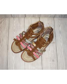 Sandálky hnedé s farebnými pásikmi, veľ.31