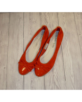 Lodičky Patrizia Dini červené s mašličkou, veľ.35