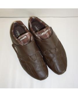 Športové topánky Lacoste tmavohnedé na suchý zips, veľ.43