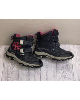 Zateplené členkové topánky čierno-ružové, veľ.32