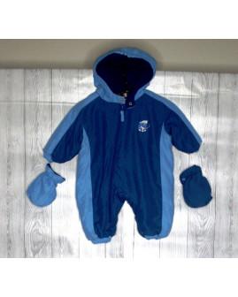 Overal modrý s kapucňou a rukavičkami, veľ.62