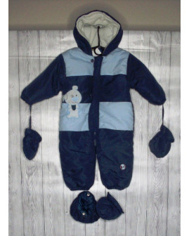 Overal modrý s kapucňou, papučkami a rukavičkami, veľ.74