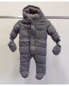 Overal Babaluno sivý s kapucňou a rukavičkami, zvnútra kožušinka, veľ.68/74
