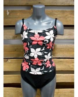 Plavky Lascana čierno-ružové s kvetmi, veľ.42