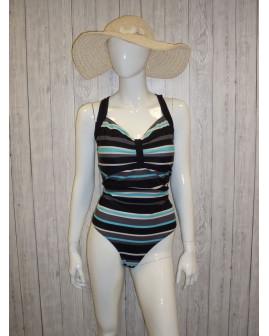 Plavky Bonprix čierne s farebnými pruhmi, veľ.50