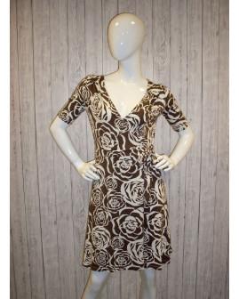 Šaty H&M hnedé s bielymi ružami, na zaviazanie, veľ.40