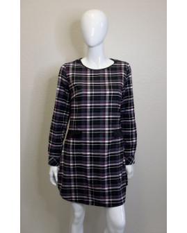 Šaty čierno-bielo-fialové kárované, veľ.M