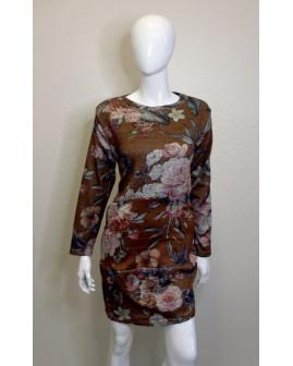 Šaty hnedé s kvetmi, veľ.46