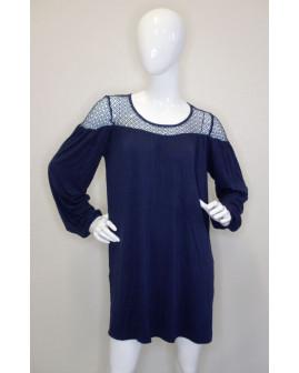 Šaty Orsay tmavomodré, v hornej časti sieťovina, veľ.38