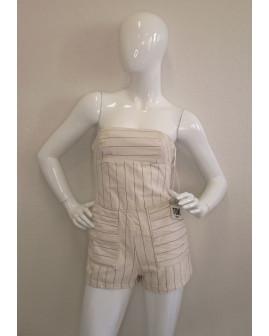 Letný overal Zara biely s jemným prúžkom, veľ.XS