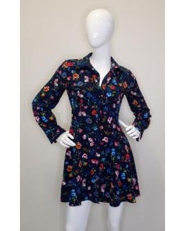 Overal Zara čierny s kvetinkovým vzorom, veľ.S