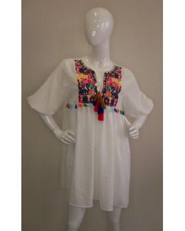 Šaty Shein biele s etno výšivkou, veľ.M