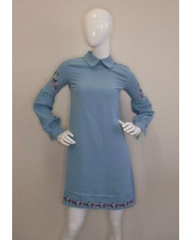 Šaty zelené s výšivkou, veľ.36