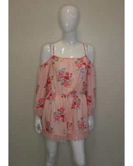 Letný overal H&M ružový s kvetmi a čipkou, veľ.46