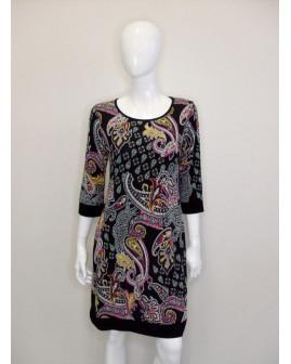 Šaty Bonprix čierne s farebným vzorom, veľ.40/42