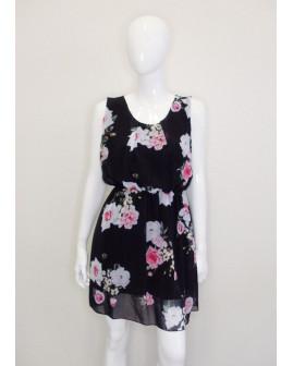 Šaty Hailys čierne s kvetmi, veľ.XXL