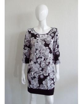 Šaty F&F sivo-čierne s kvetmi, veľ.42