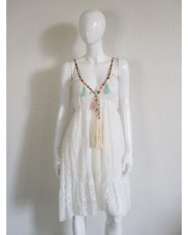 Šaty biele čipkované s aplikáciou, veľ.S