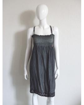 Šaty Khujo sivé s čipkou, veľ.S