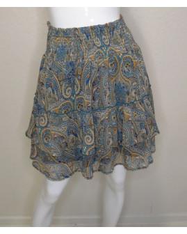 Sukňa Orsay modrá s farebným vzorom, veľ.40