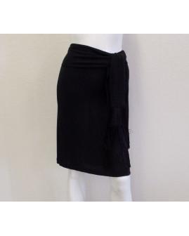 Sukňa Moschino čierna, v páse viazačka so strapcami, veľ.42