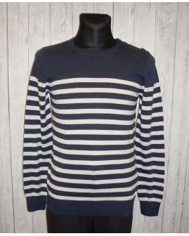 Pulóver Clockhouse modro-biely pruhovaný, veľ.M