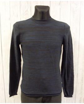 Pulóver Jean Pascale modro-čierny melírovaný, veľ.S